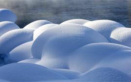 Kanas, nieve, piedras, invierno, China.