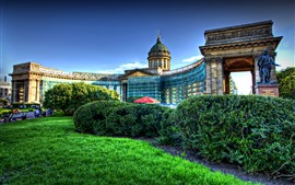 Preview wallpaper Kazan, cathedral, garden, HDR style