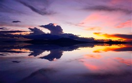 Preview wallpaper Lake, mountains, sunset, calm water surface, Bolivia