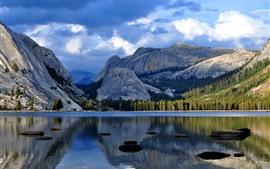 Lake, mountains, water reflection, beautiful nature landscape