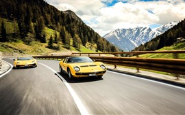 Preview wallpaper Lamborghini LP700-4 and 1971 yellow supercars
