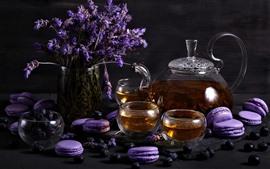Aperçu fond d'écran Lavande, thé, macaron violet, gâteaux