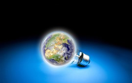 Light bulb, Earth, blue background, creative picture
