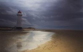 Farol, praia, nuvens, Crepúsculo