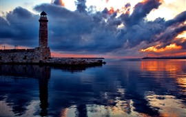 Lighthouse, bricks, sea, thick clouds, sunset