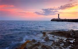 Маяк, море, побережье, красное небо, закат