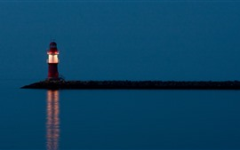 Preview wallpaper Lighthouse, sea, night, lighting