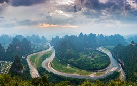 Preview wallpaper Lijiang River first bay, mountains, village, Beautiful landscape, China