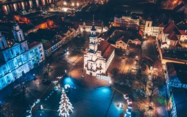 Lithuania, Kaunas, city night, lights, top view