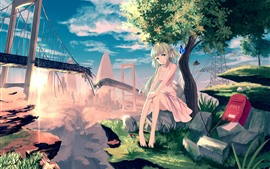 Preview wallpaper Lonely anime girl, tree, butterfly, broken bridge