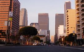 Los Ángeles, ciudad, rascacielos, carretera, paisaje urbano, Estados Unidos