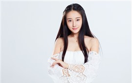 Preview wallpaper Lovely Chinese girl, long hair, white background