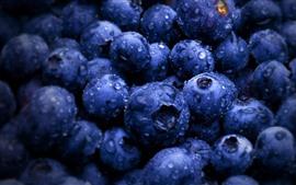 Muitos blueberries, gotas de água