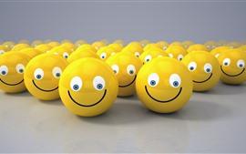 Muchas caras sonrientes amarillas, diseño 3D