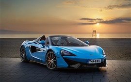 Preview wallpaper McLaren 570S blue convertible, sunset, sea