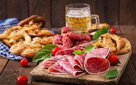 Preview wallpaper Meat, sausage slicing, beer, tomatoes