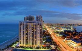 Miami, Florida, EUA, ilha, mar, cidade, edifícios, luzes, noite
