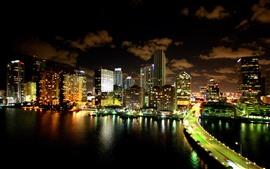 Miami, noche de la ciudad, rascacielos, río, puente, iluminación, Estados Unidos