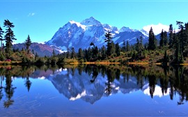 Mount Baker, snow, trees, lake, water reflection, USA