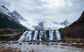 Preview wallpaper Mount Siguniang, snow, waterfall, stones, China