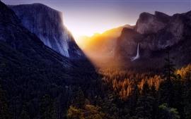Montanhas, floresta, cachoeira, nascer do sol, névoa, outono