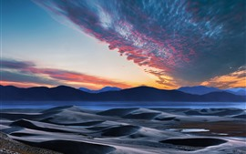 Mountains, hills, river, sky, clouds, sunset