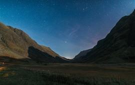 山、影、星空、空