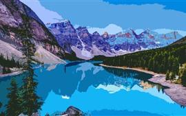 Montañas, árboles, lago, reflejo de agua, imagen artística