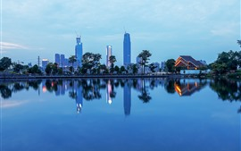 Nanning, city, skyscrapers, park, lake, dusk, China