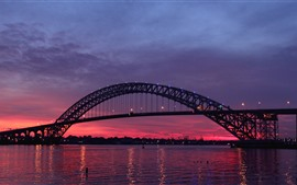 Preview wallpaper New Jersey, USA, bridge, river, night