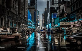Preview wallpaper New York, city, night, street, buildings, rain, USA
