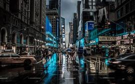New York, cidade, noite, rua, edifícios, chuva, EUA