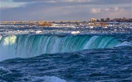 Cataratas del Niágara, Canadá, agua, nieve, puente, invierno