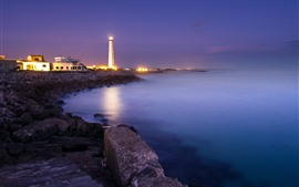 Night, coast, sea, lighthouse, lights