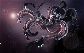 Octopus robot, tentacles, art picture