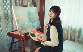 Pintar chica, mirar hacia atrás