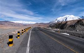 Pamirs, montanhas, neve, estrada, carros