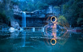 Preview wallpaper Park, pond, waterfall, sparks