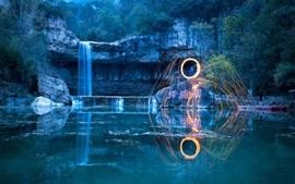 Parque, lagoa, cachoeira, faíscas