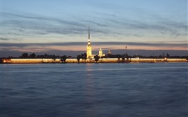Preview wallpaper Peter and Paul Fortress, St. Petersburg, Russia, night, river