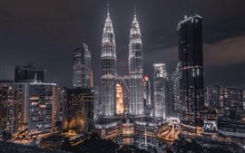 Petronas Towers, Kuala Lumpur, Malásia, noite, luzes