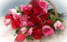 Preview wallpaper Pink and red roses, flowers, basket