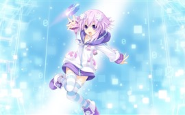 Preview wallpaper Pink hair anime girl, happy, disc
