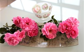 Preview wallpaper Pink roses, bowl
