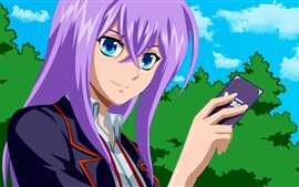 Purple hair anime girl, card