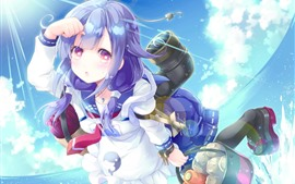 Preview wallpaper Purple hair anime girl, flight, sunshine