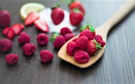 Frambuesa, fruta fresca, cuchara