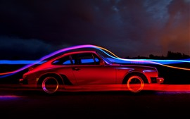 Preview wallpaper Red car, side view, speed, light lines, art picture