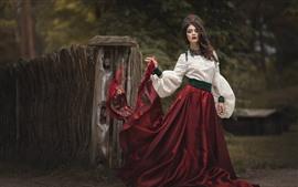Chica de falda roja, estilo retro