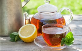 Preview wallpaper Red tea, lemon, kettle, cup
